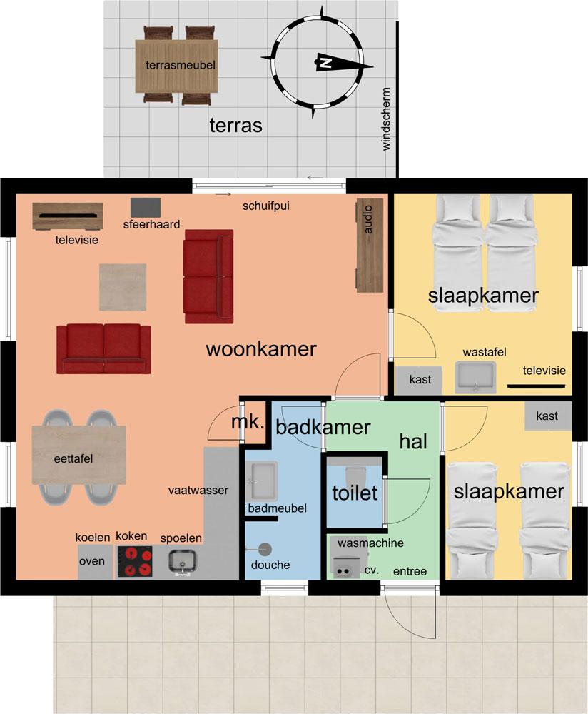 plattegrond Bungalows 491A 493A