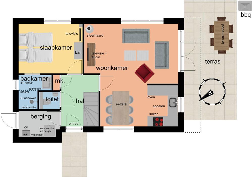 plattegrond beganegrond 6p vakantiehuis 8-9